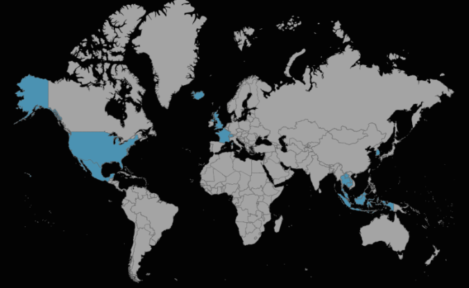 Map of countries visited