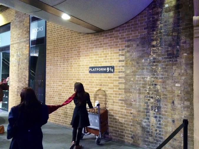 While you're at King's Cross, you can check out Platform 9 3/4. There was a long line of people waiting to take a picture just like this and I got impatient.