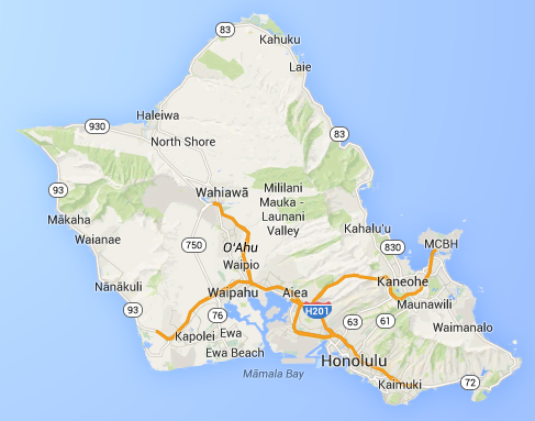 Oahu: The third largest Hawaiian island by size and the by far the largest by population.