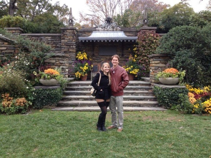 David and Alexis stand in the garden at Dumbarton Oaks mansion in Washington DC