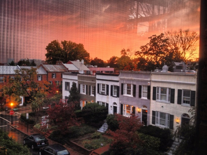 Rowhouses at sunset in Georgetown, Washington DC