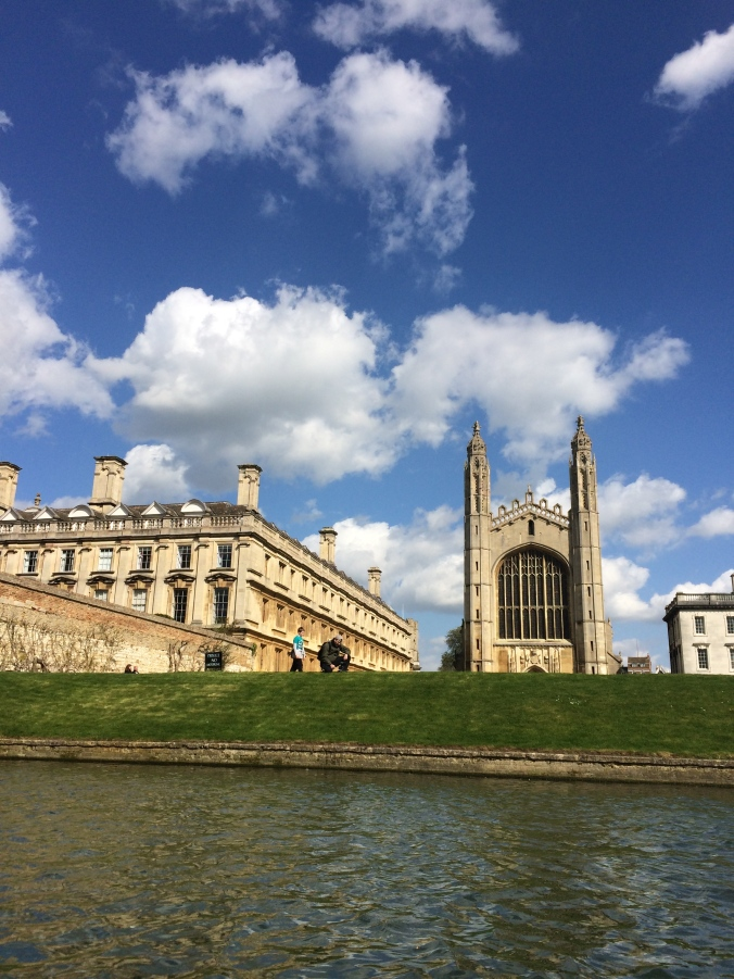 Punting on the River Cam, taking in the beautiful buildings that comprise Cambridge University.