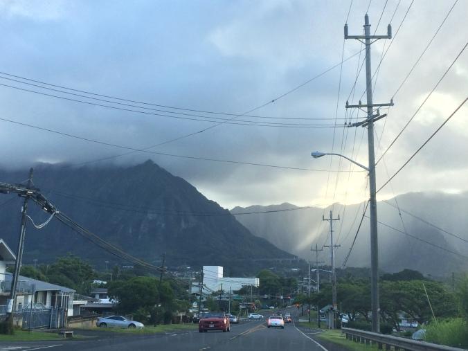 Towering Ko'olau mountains in Kaneohe.