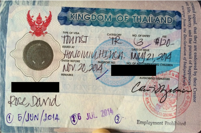 "My triple-entry tourist visa. ""TR"" is the official labeling of this type of visa."