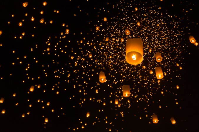 Thousands of lanterns fill the night sky at Chiang Mai's Loi Krathong/Yee Peng ceremony
