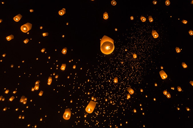 Lanterns in the sky at Chiang Mai Thailand's Yi Peng/Loi Krathong festival