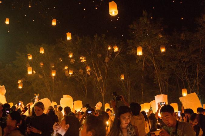 Lanterns stuck in trees at Chiang Mais Yi Peng/Loi Krathong Festival