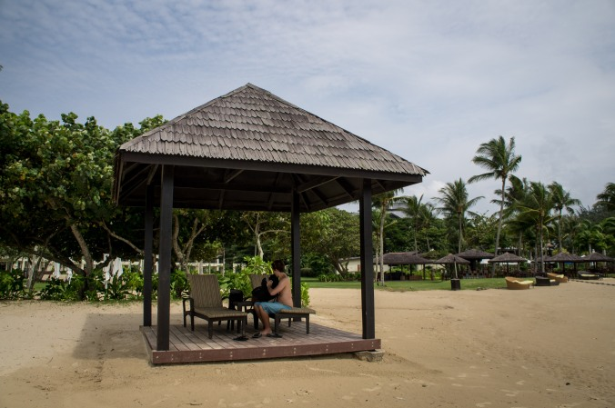 A bungalow on the beach near Shangri La's Rasa Ria Resort
