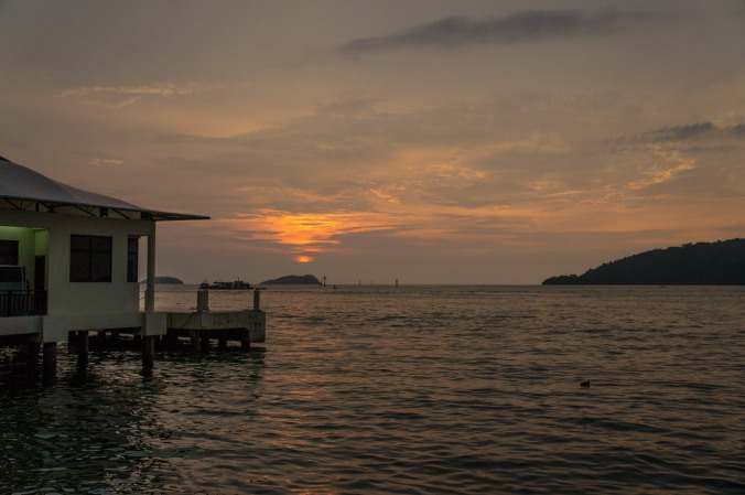 Sunset over the islands near Kota Kinabalu, Malaysia