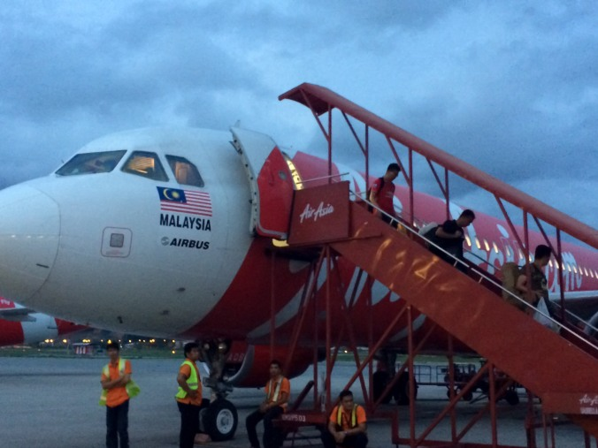 An Air Asia Malaysia plane arrives at the Kota Kinabalu airport in Borneo