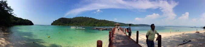 Panorama picture of the dock leading out from Sapi Island toward Gaya Island in Borneo, Malaysia