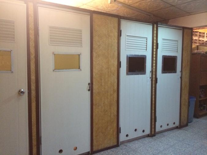 Doors to private Thai sauna rooms