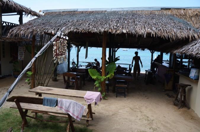 View of Klong Nin beach and the restaurant at Lanta Roundhouse, Ko Lanta, Thailand