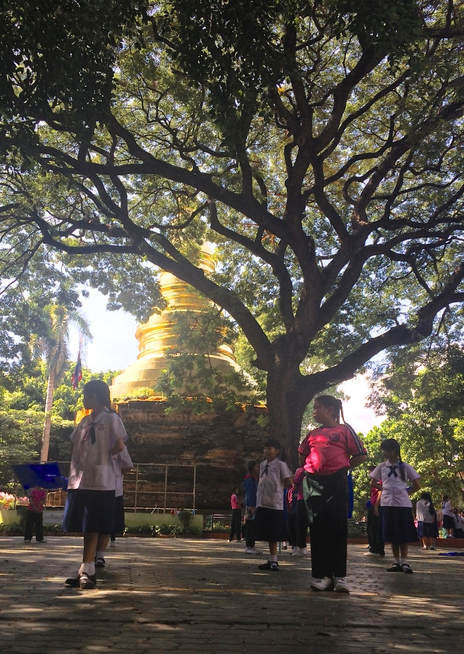 Thai students stand in front of a tree and golden Buddhist temple