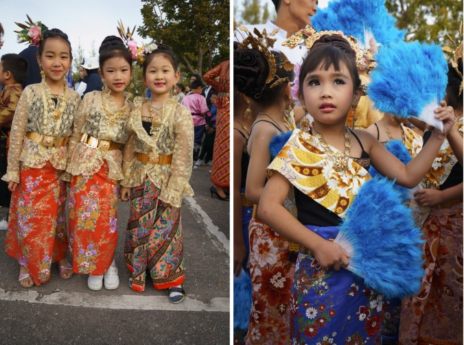 Children dressed in costumes at a Sports Day activity in Chiang Mai, Thailand