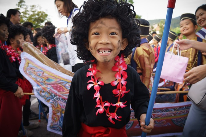 Child dressed in costumes at a Sports Day activity in Chiang Mai, Thailand