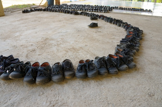 Little shoes arranged in a circle