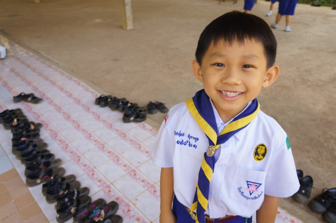 Smiling Thai student in scout uniform