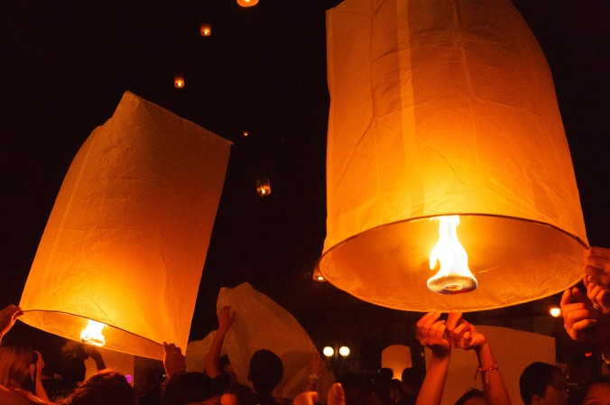 Lanterns on New Year's Eve near Thaphae Gate, Chiang Mai, Thailand