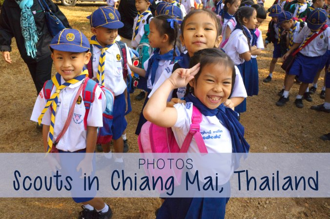 Young scouts salute the camera in Chiang Mai, Thailand