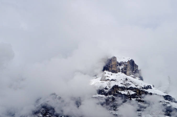 Clouds caught on a mountain near Interlaken, Switzerland