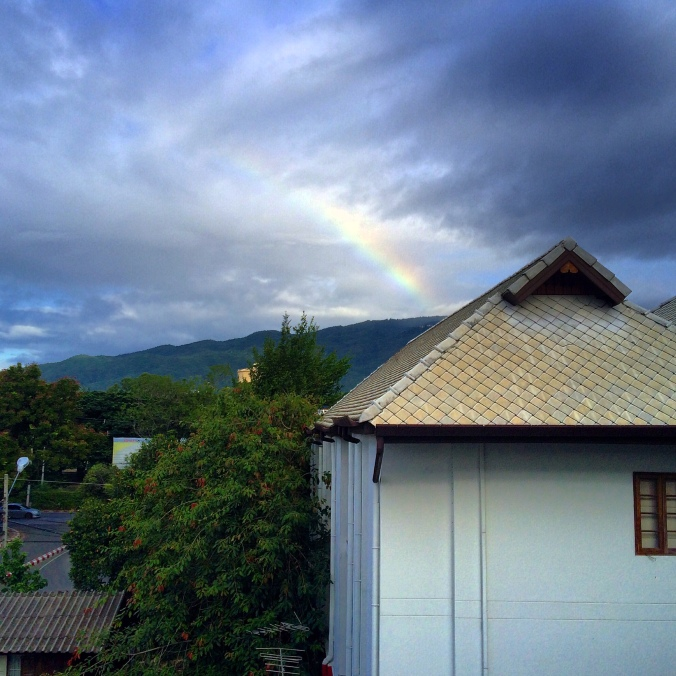 rainbow over doi suthep in chiang mai thailand
