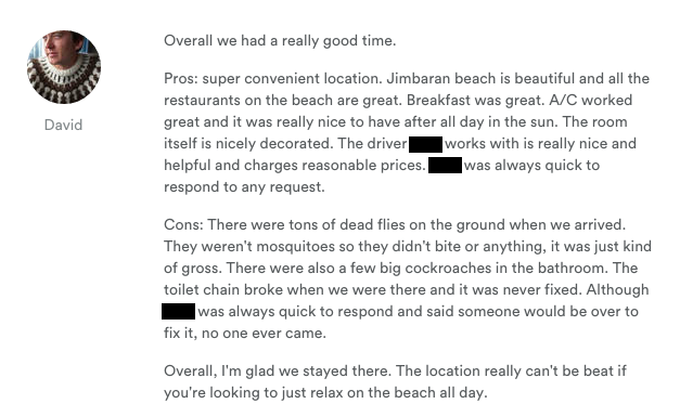 leaving reviews on airbnb